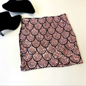 Lily Rose Pink & Black Sequin Bodycon Mini Skirt